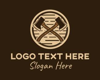Millwork - Hipster Lumberjack Axe logo design