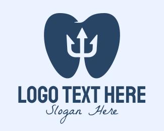 Orthodontics - Blue Tooth Trident logo design