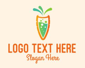 Healthy Diet - Carrot Juice Bubbles  logo design