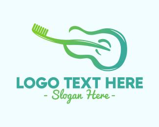 Acoustic - Guitar Toothbrush logo design