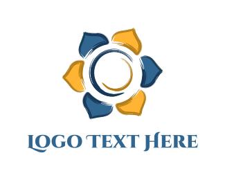 Indian Restaurant - Round Flower logo design