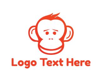 Chimpanzee - Red Monkey logo design