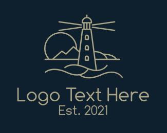 Lifeguard - Brown Lighthouse Sunset logo design