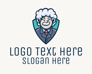 Shield - Einstein Character Mascot logo design