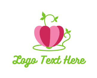 Green Tea - Rose Cup logo design