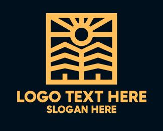 Rental - Minimalist Golden Neighborhood logo design