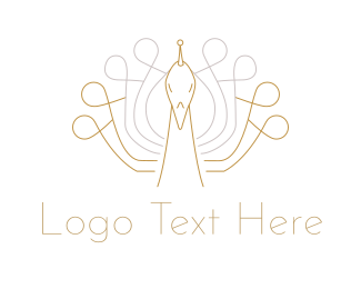 Golden - Golden Peacock logo design