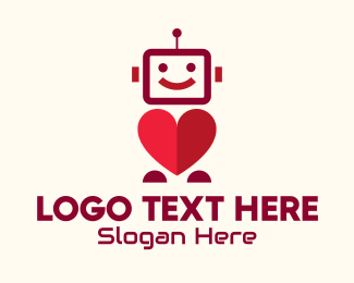 Dating - Red Dating Robot logo design
