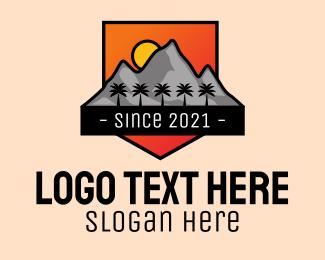 Itinerary - Tropical Mountain Badge logo design