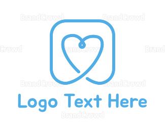 Dating - Blue Heart logo design