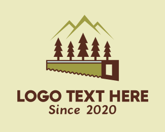 Forest - Mountain Forest Woodcutting logo design