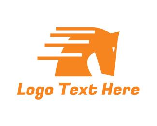 Horse Racing - Fast Modern Horse logo design