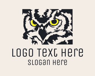 Yellow Feather - Black Owl logo design