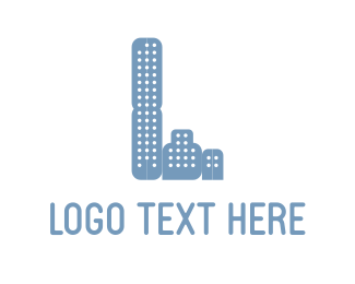 Three - Three Blue Buildings logo design