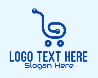 Commerce - Blue Tech Shopping Cart logo design