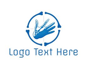 Chiropractic - Blue Hand Bone Target logo design
