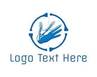 Orthopedic - Blue Hand Bone Target logo design