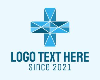 """""""Blue Geometric Cross"""" by marcololstudio"""