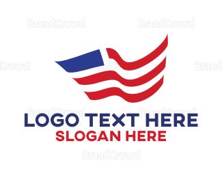American Flag - Curvy American Flag logo design