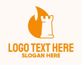 Flaming - Strategic Flaming Rook logo design