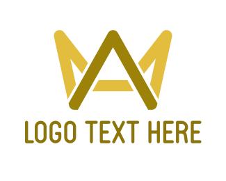 Queen - Gold Crown Letter A logo design