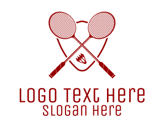 Racquet - Red Badminton  logo design