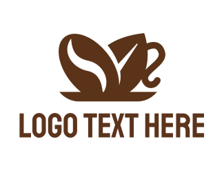 Coffee Bean Leaf Cup Logo