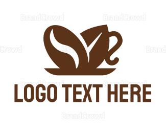 Cocoa - Coffee Bean Leaf Cup logo design