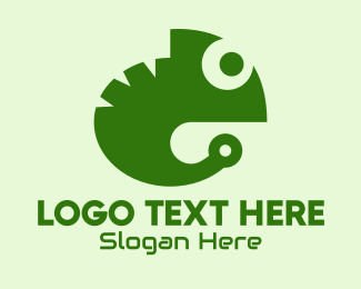 Iguana - Green Digital Chameleon logo design