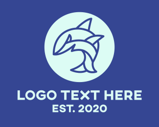 Blue Minimalist Shark Logo