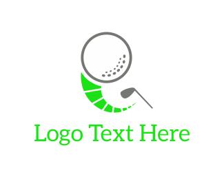 Golfer - Golf Ball & Club logo design