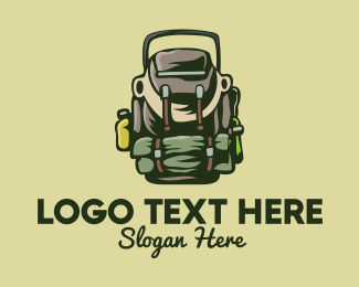 Backpacking - Outdoor Camper Bag logo design