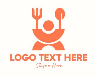 Eating - Orange Meal Canteen logo design