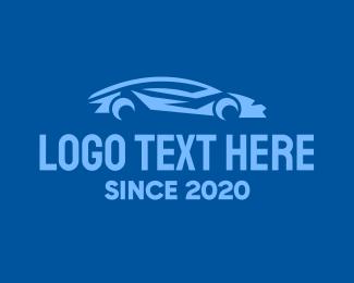 Car Racing - Blue Sports Car logo design
