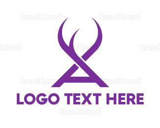 Reindeer - Violet A Horns logo design