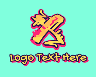 Tattoo Gallery - Graffiti Art Letter X logo design