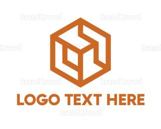 Dynamic - Gold Hexagon Cube logo design