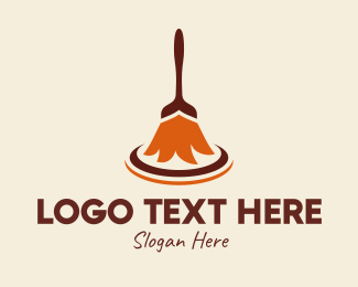 Sweeping - Traditional Broomstick logo design