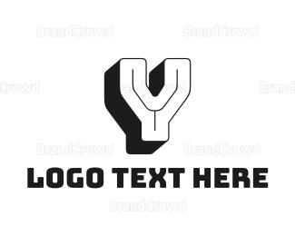 Hip Hop - 3D Retro Letter Y logo design