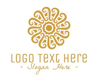 Quality - Golden Floral Pattern logo design