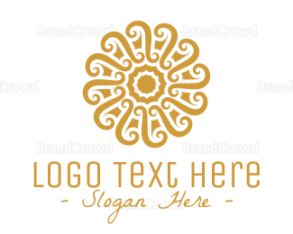 Buddhism - Golden Floral Pattern logo design