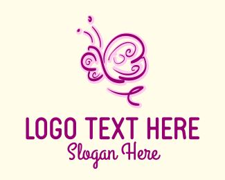 Animal - Purple & Pink Butterfly  logo design