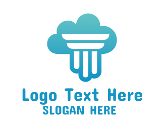 Cloud Transfer - Gradient Pillar Cloud logo design