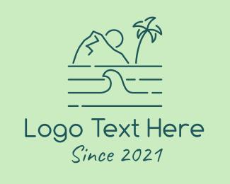 Aquatic - Tropical Island Ocean Wave logo design