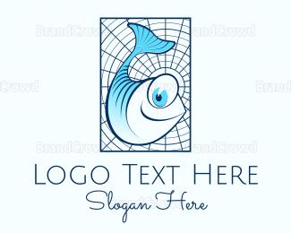 Tuna - Blue Fish Cartoon logo design