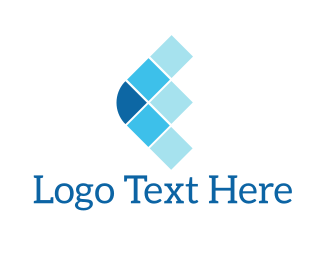 Computer - Blue Squares Arrow logo design