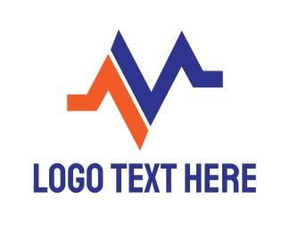 Crooked - Orange Blue M Pulse  logo design