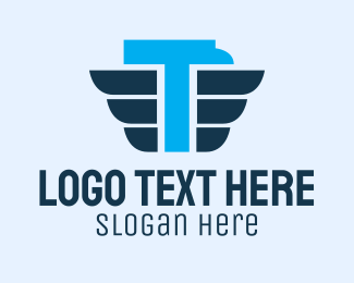 Logistic Service - Blue Eagle Letter T logo design