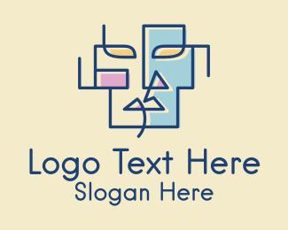 Minimalist - Geometric Face Art  logo design