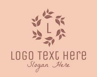 Beauty - Brown Floral Wreath Letter  logo design